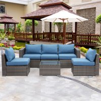 6 Piece Outdoor Furniture Set,Modular Wicker Patio Sectional Sofa for Garden Backyard,Sophisticated Glass Coffee Table with Fabric Cushions,Upgrade Blue Cushion