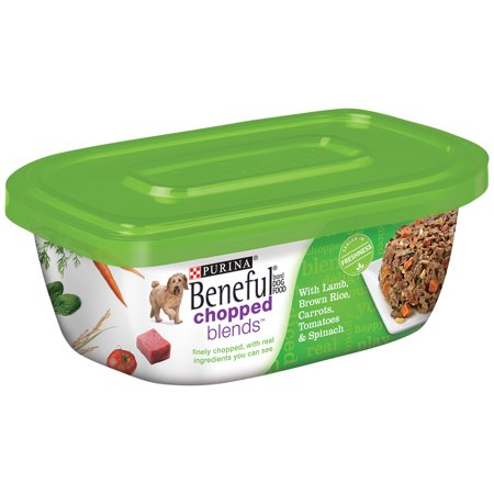(8 Pack) Purina Beneful Chopped Blends Lamb, Brown Rice, Carrots, Tomatoes & Spinach Adult Wet Dog Food - 10 oz. Tub