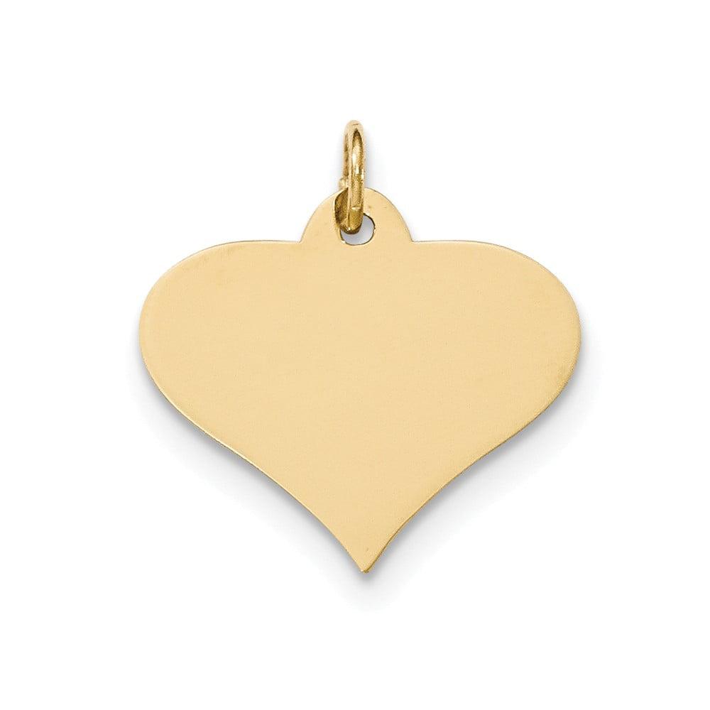 14k Yellow Gold Plain .027 Gauge Engravable Heart Disc Charm