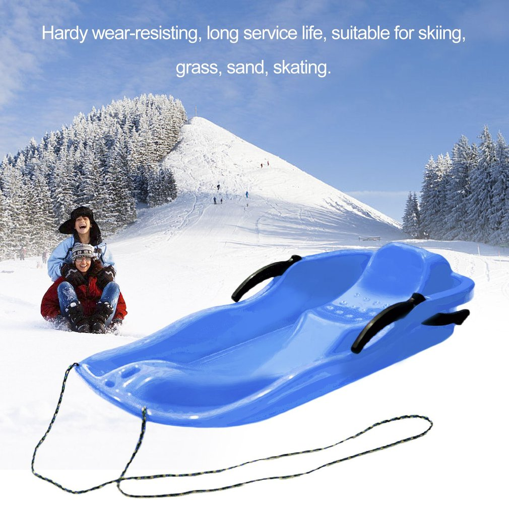 Outdoor Sports Plastic Skiing Boards Sled Luge Snow Grass Sand Board Ski Pad Snowboard With Rope For Double People by
