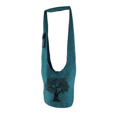 Tree of Life Print Fully Lined Cotton Canvas Crossbody Bag
