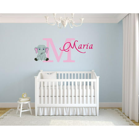 Custom Wall Decor - Personalized Name Vinyl Decal Sticker Custom Initial Wall Art Baby Girl Nursery Elephant Decor 16 Inches X 26 Inches
