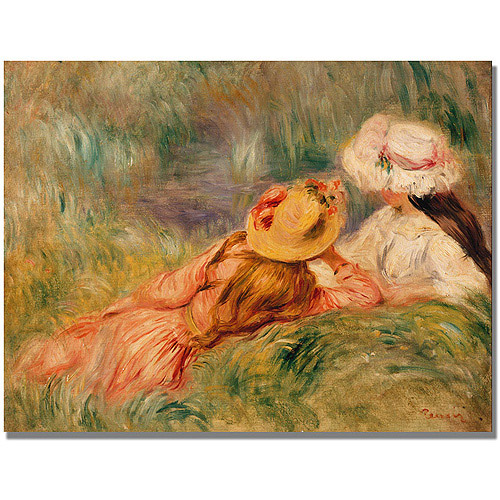 """Trademark Fine Art """"Young Girls By the Water"""" Canvas Art by Pierre Renoir"""