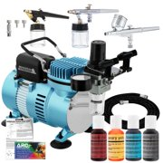 3 AIRBRUSH CAKE DECORATING SYSTEM KIT Air Compressor Chefmaster Food Color Set