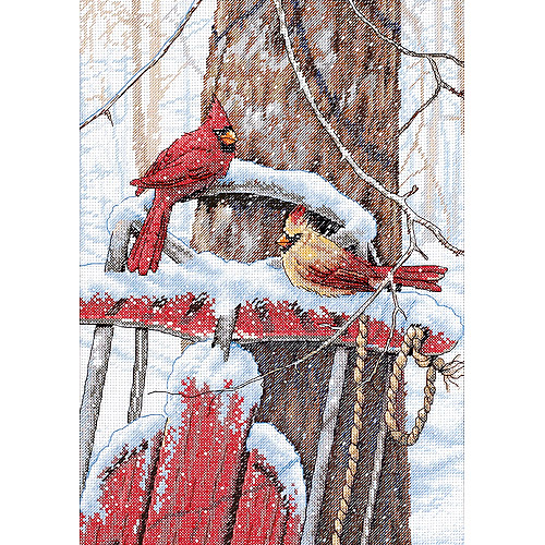 "Dimensions ""Cardinals On Sled"" Counted Cross Stitch Kit, 10"" x 14"""
