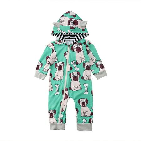 77d4eedf7 Infant Baby Boys Girls Hooded Romper Long Sleeve Top Dog Printed ...