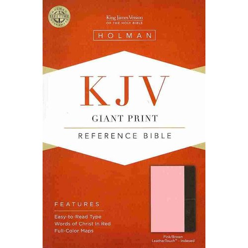 Holy Bible: King James Version, Pink/Brown Leathertouch, Giant Print Reference