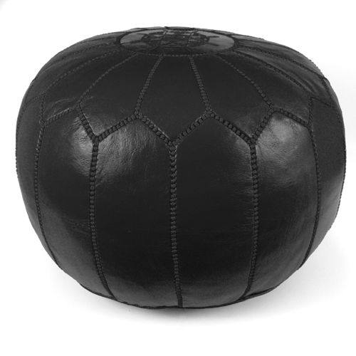 "Ikram Design Stuffed Brown Moroccan Leather Pouf Ottoman, 20"" Diameter and 13"" Height"