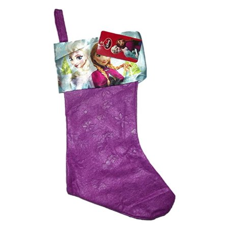 Disney Frozen Christmas Felt Stocking 18inch Purple Anna Elsa Olaf - Purple Stockings