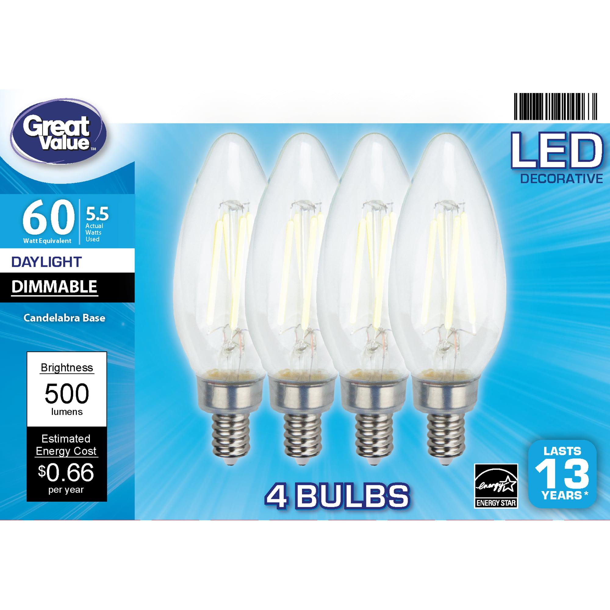 Great Value Led Light Bulb 5 5 Watts 60w Equivalent B10 Deco Lamp E12 Candelabra Base Dimmable Daylight 4 Pack Walmart Com Walmart Com