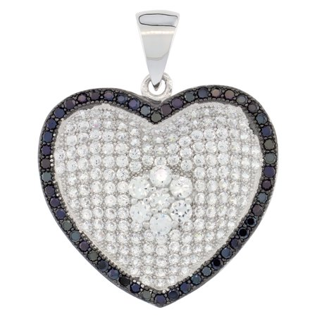 Sterling Silver Micro Pave Cubic Zirconia Heart Pendant Centered White Flower Outlined In Black Stones