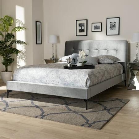 Baxton Studio Ingrid Glam and Luxe Silver Grey Velvet Fabric Upholstered King Size Platform -
