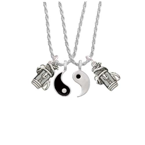"Golf Club Bag Yin Yang Necklace Set, 20""+3"" by Delight and Co."