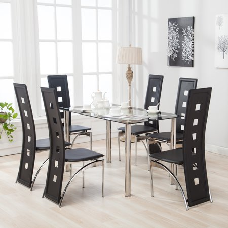 Mecor Dining Table Set with 6 Leather Chairs Kitchen Furniture Black ...