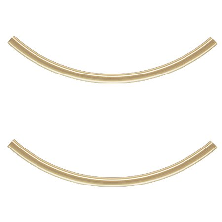 - 14K Gold Filled Long Curved Noodle Tube Beads 40mm x 2mm (2)
