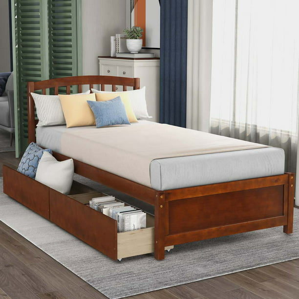 Twin Size Bed Frame With 2 Drawers Yofe Platform Storage Beds With Strong Slats System Wooden Twin Bed Frame With Headboard Modern Style Bedroom Furniture For Kids Teen Walnut D300 Walmart Com