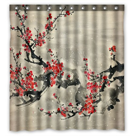 - PHFZK Asian Shower Curtain, Plum Blossom Traditional Chinese Painting Polyester Fabric Bathroom Shower Curtain 66x72 inches