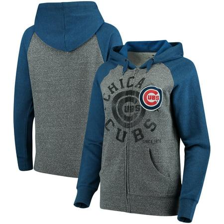 - Chicago Cubs 5th & Ocean by New Era Women's Tri-Blend Raglan Fleece Full-Zip Hoodie - Heathered Gray/Royal