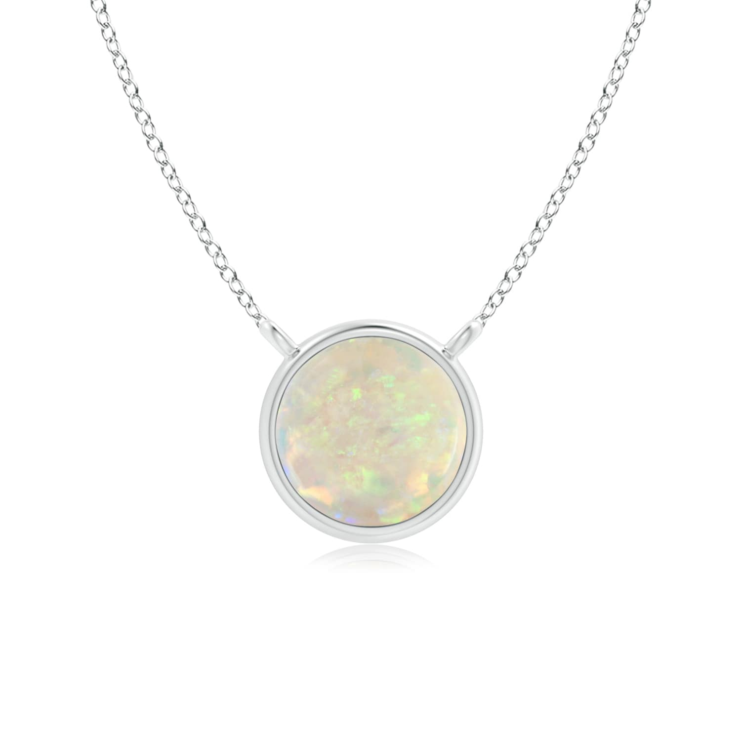 Mother's Day Jewelry Necklace Bezel Set Round Opal Solitaire Necklace in 14K Rose Gold (5mm Opal) SP1228OP-RG-AAA-5 by Angara.com