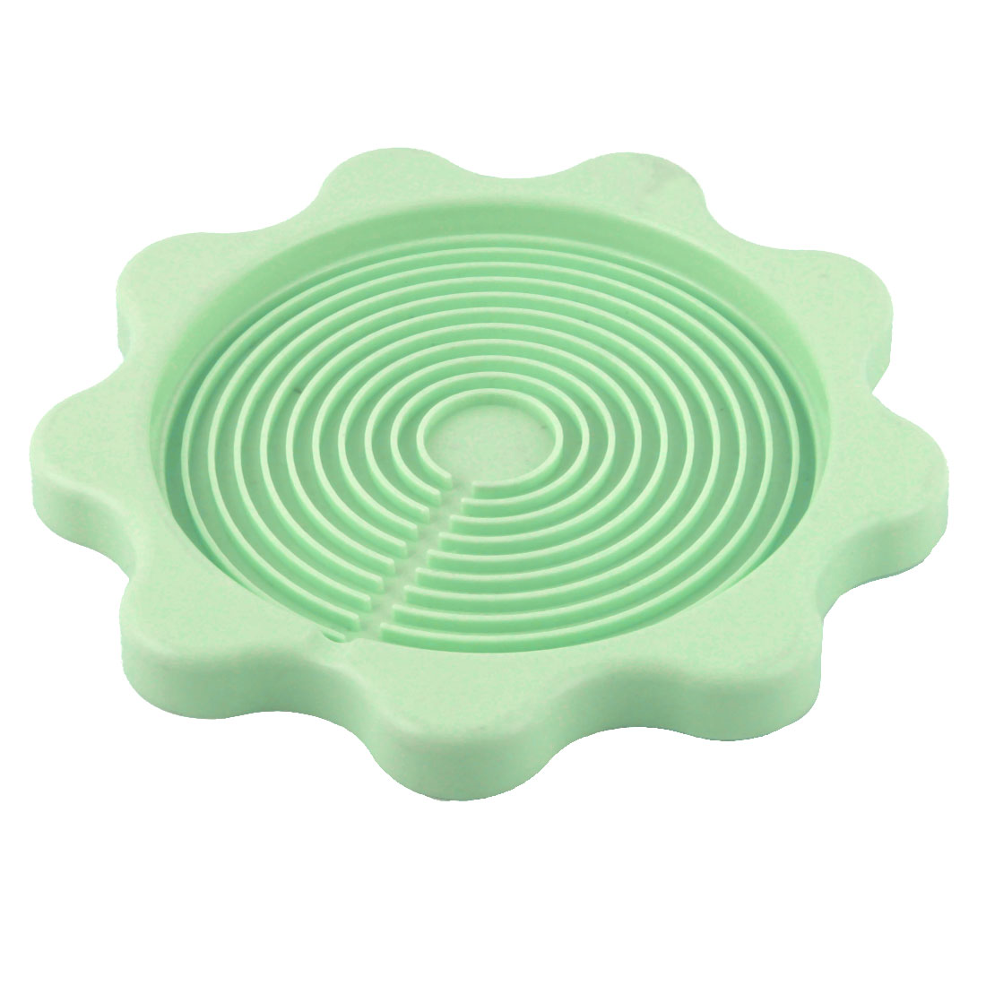 Plastic Flower Style Nonslip Pad Heat Insulation Bowl Resistant Mat Pale Green