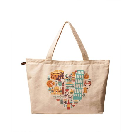 Women's I Love Italy Printed Vintage Canvas Tote Shoulder Bags WAS_01 But I Italian Handbag