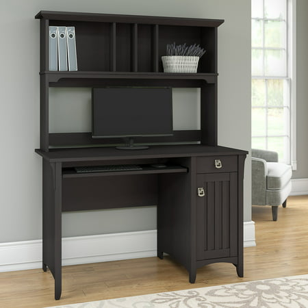 Bush furniture salinas mission style desk with hutch in vintage black - Mission style computer desk with hutch ...