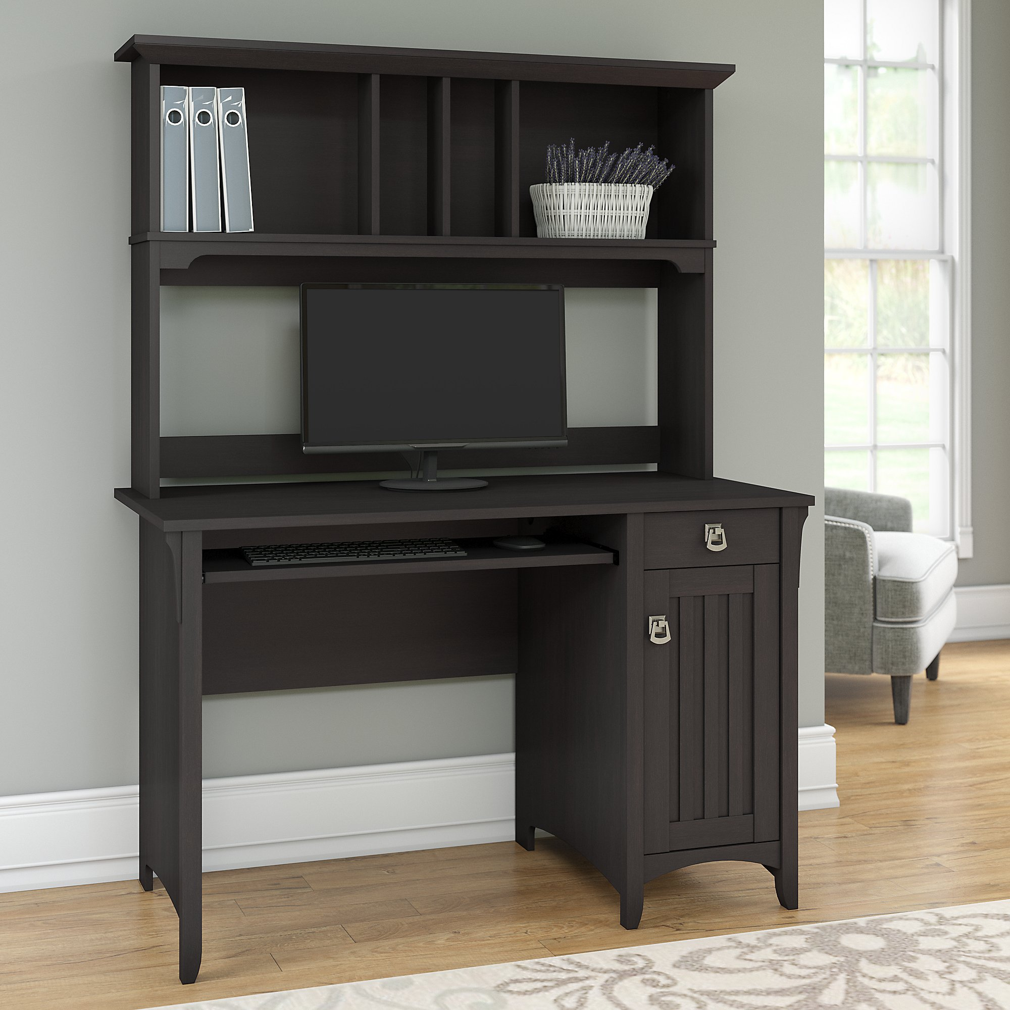 Genial Bush Furniture Salinas Mission Style Desk With Hutch In Vintage Black