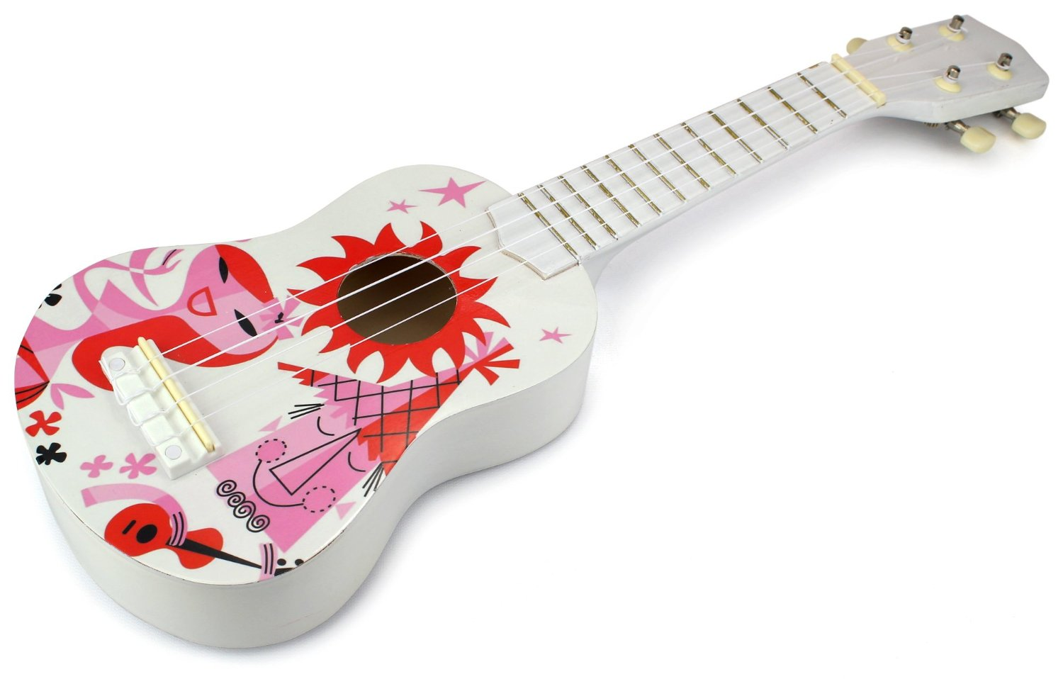 Velocity Toys Classic Ukulele 4 Stringed Toy Guitar Lute Musical Instrument (White Pink) by Velocity Toys