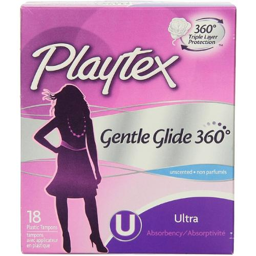 Playtex Gentle Glide 360 Unscented Ultra Absorbency Tampons 18 ea (Pack of 4)