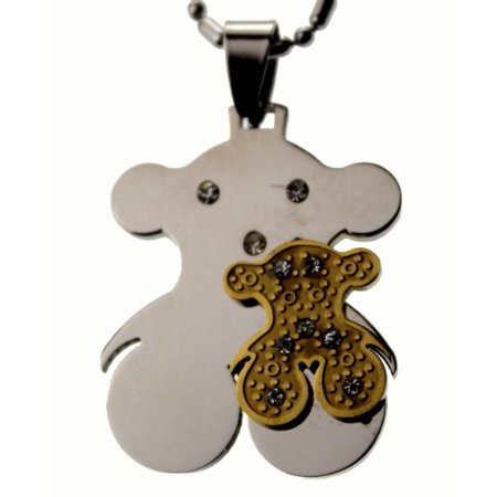 R.H. Jewelry Stainless Steel Pendant, Teddy Bear Pendant Necklace