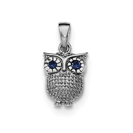 - 925 Sterling Silver with blue Simulated Simulated Sapphire Owl Pendant