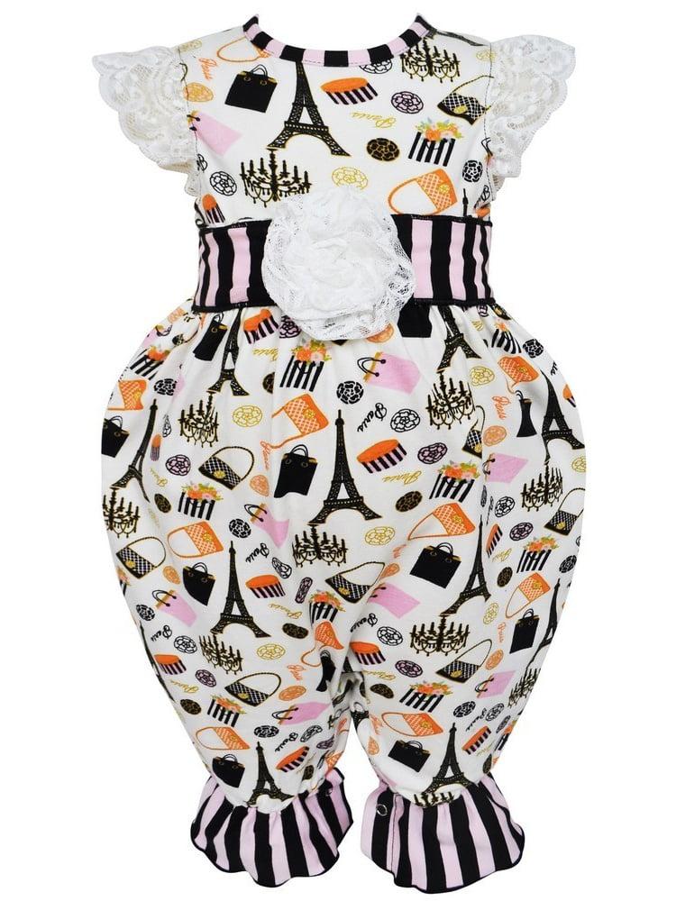 AnnLoren Baby Girls Black Stripe Paris Eiffel Tour Boutique Romper