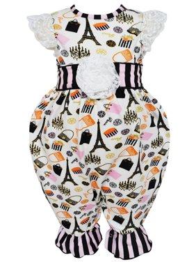 7bea448a550 Product Image AnnLoren Baby Girls Black Stripe Paris Eiffel Tour Boutique  Romper
