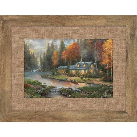 Thomas Kinkade Evening at Autumn Lake Framed Print