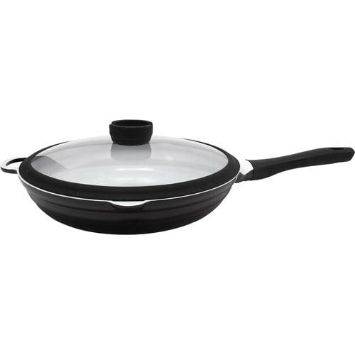 """CeraStone Ceracast 11"""" Ceramic Non-Stick Chicken Fryer, Black"""