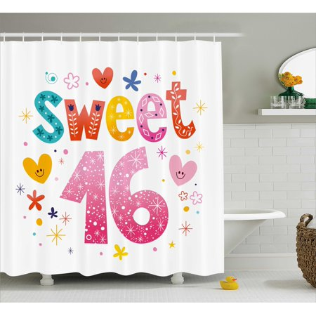 16th Birthday Decorations Shower Curtain Cute Sweet Sixteen Hearts Stars Flowers Unique Girls Joy Design