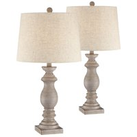 Regency Hill Traditional Table Lamps Set of 2 Beige Washed Fabric Tapered Drum Shade for Living Room Bedroom Nightstand Family