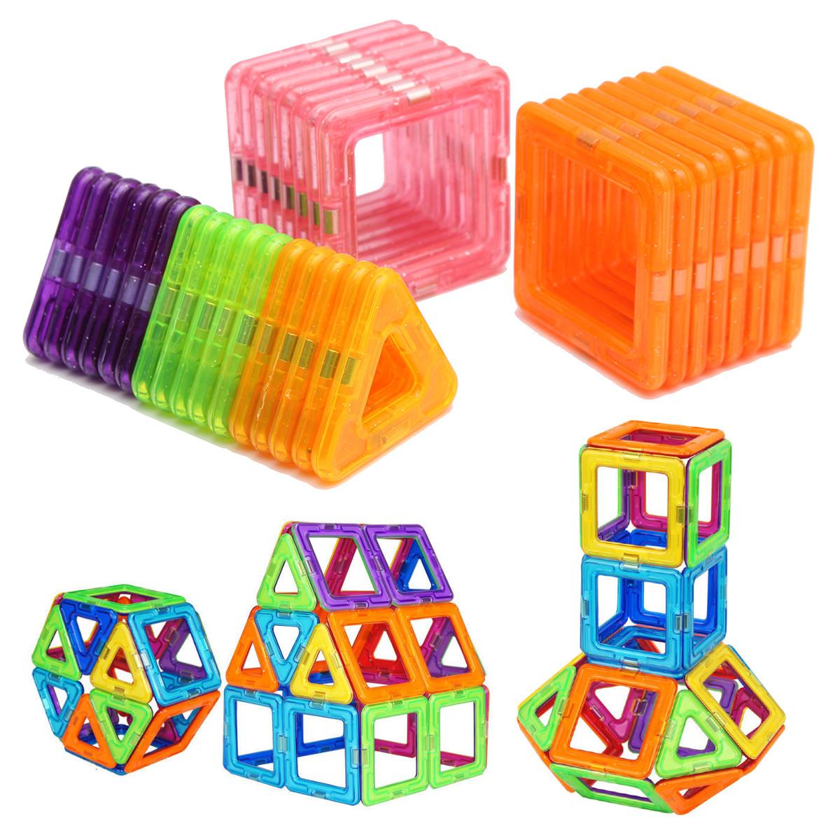 Meigar 32 Pcs Mini Magnetic Bricks Building Blocks Tiles Educational Building Construction Toy Set Kids Children Birthday Christmas Gift ,Multi Colors