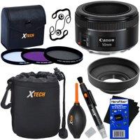 "Canon EF 50mm f/1.8 ""STM"" Lens for Canon SLR Cameras + 3pc Filter Kit (UV,FL-D,CPL) + 8pc Bundle Accessory Kit w/ HeroFiber Ultra Gentle Cleaning Cloth"