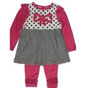 Little Girls Pink Black Dot Stripe Bow Accent 2 Piece Leggings Set 2T-4T
