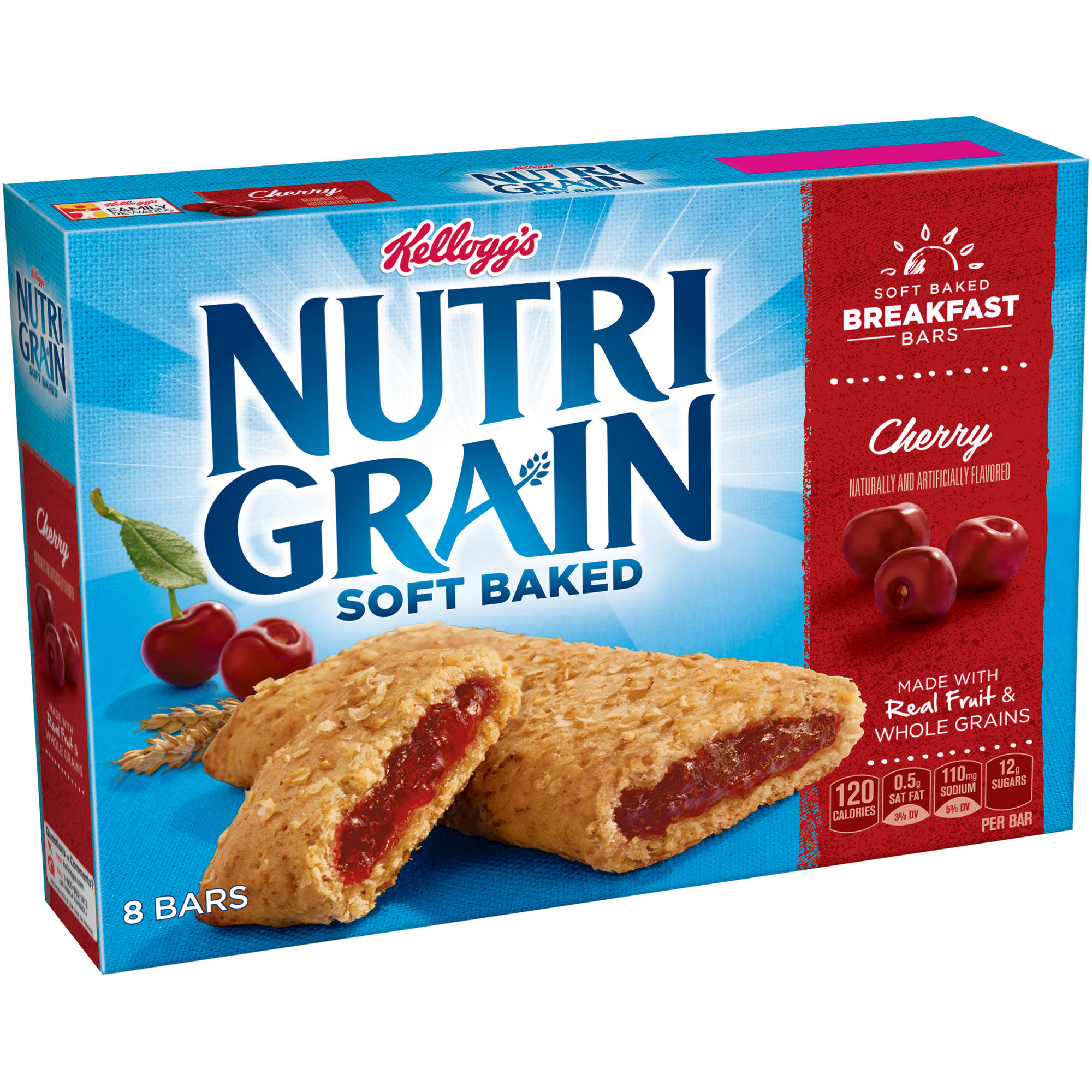 Kellogg's Nutri-Grain Soft Baked Cherry Breakfast Bars, 1.3 oz, 8 count