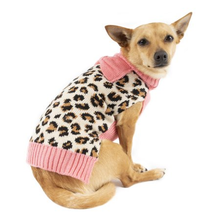 Simplydog Brown Animal Print Sweater with Pink Bow for Dogs, Medium - Freddy Krueger Dog Sweater