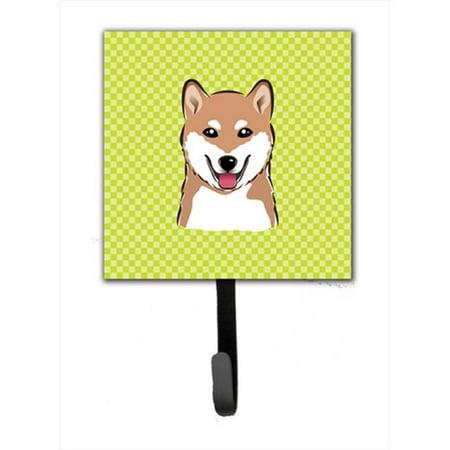 Checkerboard Lime Green Shiba Inu Leash Or Key Holder, 4.25 W x 7 H In. - image 1 de 1