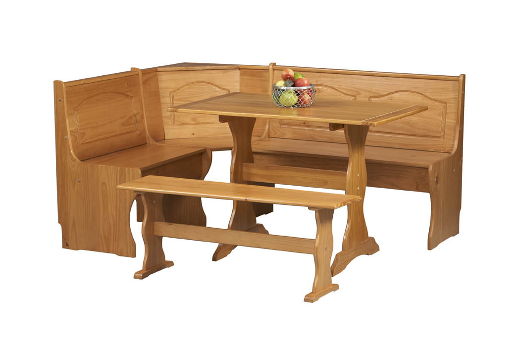 Linon Chelsea Breakfast Nook Dining Set, Natural Finish   Walmart.com
