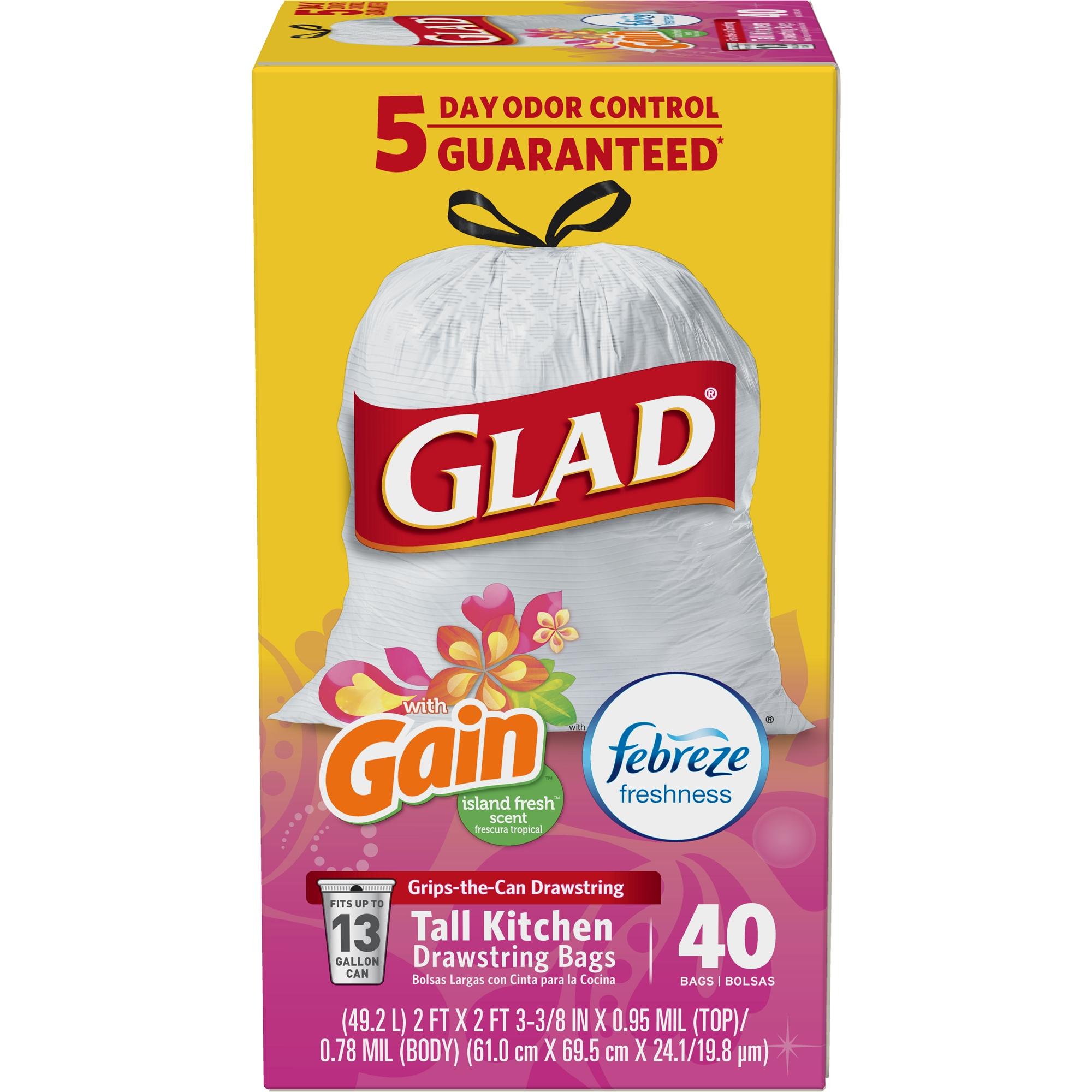 Glad OdorShield Tall Kitchen Drawstring Trash Bags - Gain Island Fresh - 13 Gallon - 40 ct