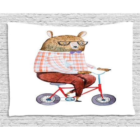 Funny Tapestry, Cartoon Bear Dressed up in Hipster Clothes Riding a Bike Watercolor Urban Character, Wall Hanging for Bedroom Living Room Dorm Decor, 60W X 40L Inches, Multicolor, by Ambesonne