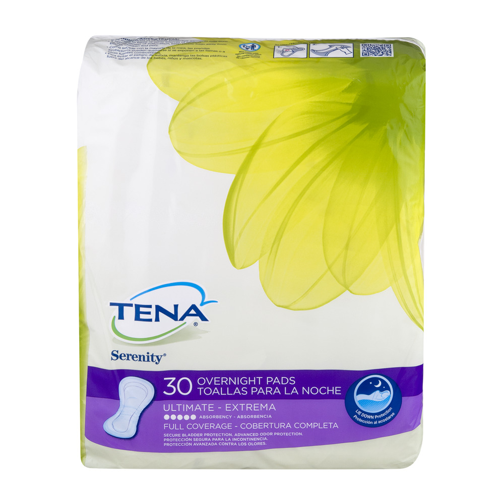 Tena Serenity Overnight Pads Ultimate Full Coverage - 30 CT