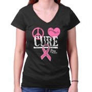 Breast Cancer Awareness Shirt | Peace Cure Love Pink Ribbon Junior V-Neck Tee