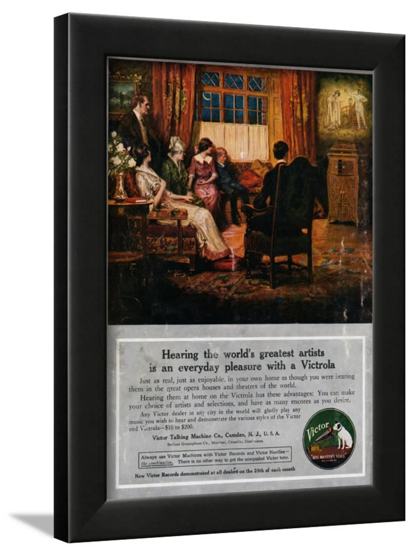 Advertisement for Victrola Player Framed Print Wall Art
