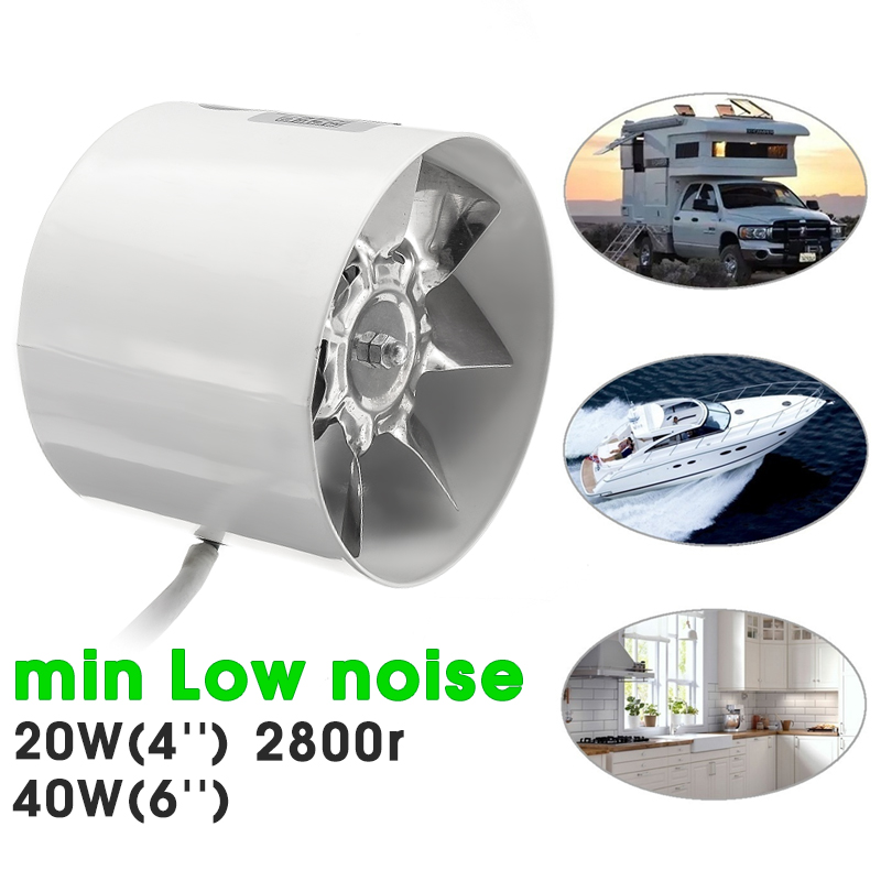 "4"" (White) 6"" (Black) Duct Booster Inline Exhaust Ducting Blower Fan Cool Vent Heatsink Metal Blade Air Cooling Ventilation Vent Kitchen Bathroom Window Home Grow Tent"